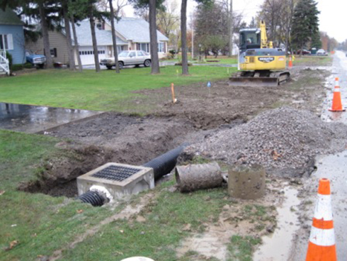Buckeye trenching serving akron canton and all of for Yard drainage basin